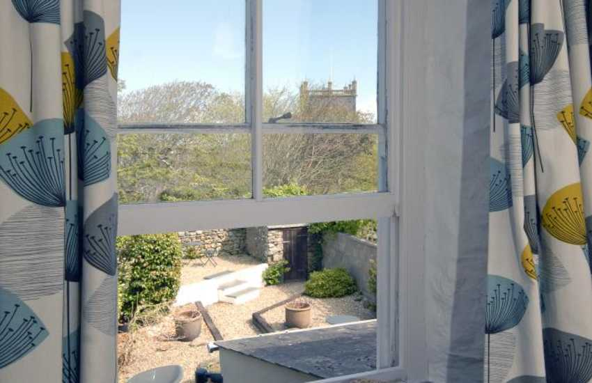 St Davids cottage master bedroom with views over the garden