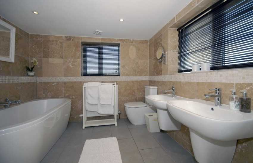 St Davids holiday cottage - luxury family bathroom with seperate shower cubicle