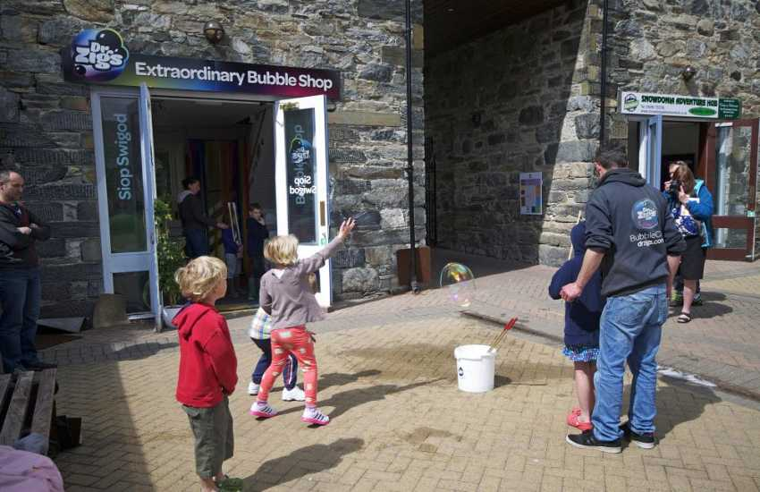 Children love the extraordinary bubble shop, Betws y Coed