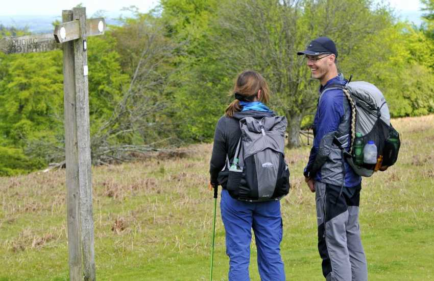 Walkers on the Offas's Dyke long distance path at Hergest Ridge