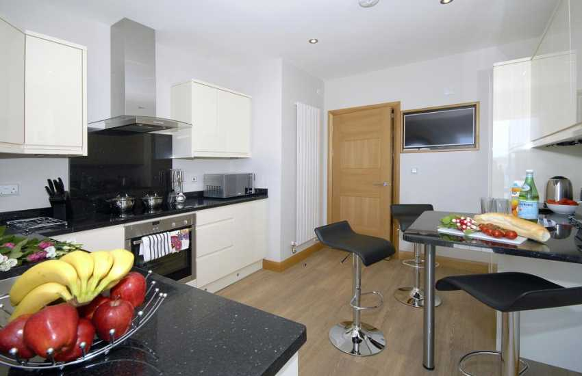 Self-catering apartment South Pembrokeshire - luxury modern kitchen