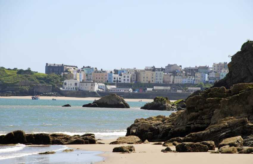 Views of nearby Tenby from Waterwynch Beach