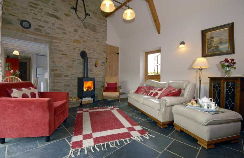 Narberth cosy holiday cottage - sitting room with wood burning stove