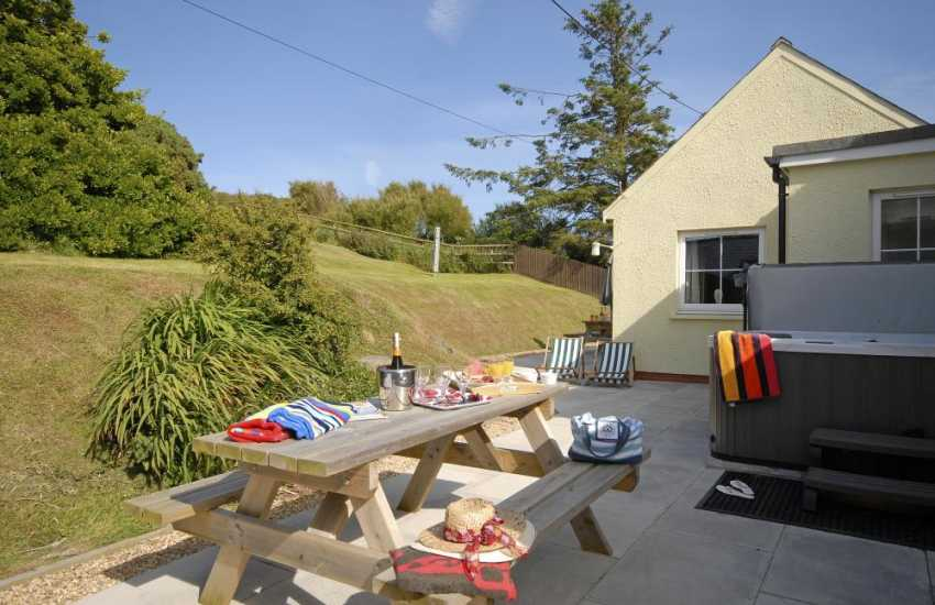 Pembrokeshire holiday home with private gardens and hot tub