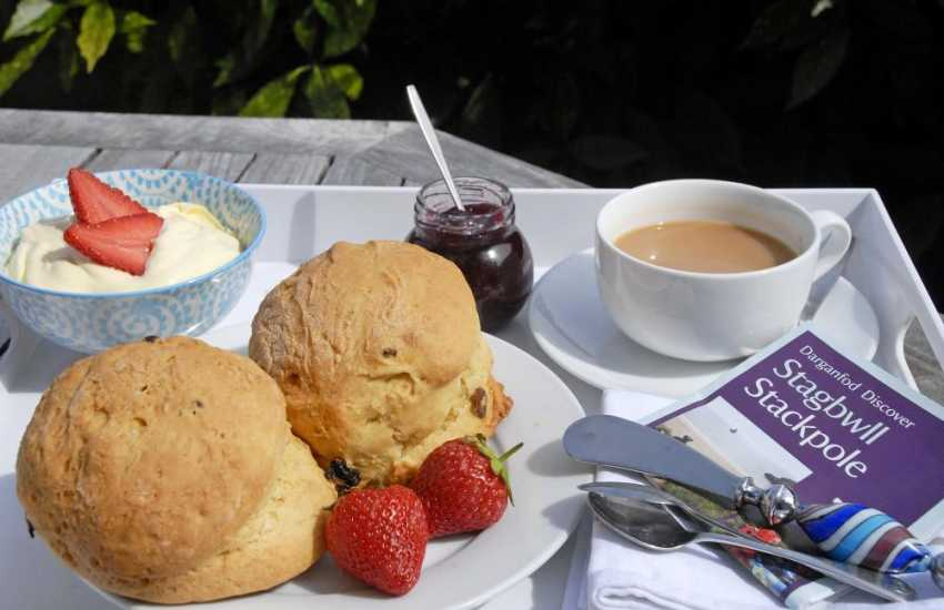 The Boathouse in Stackpole serves food all day long. Choose from crab sandwiches or mouth watering cream teas