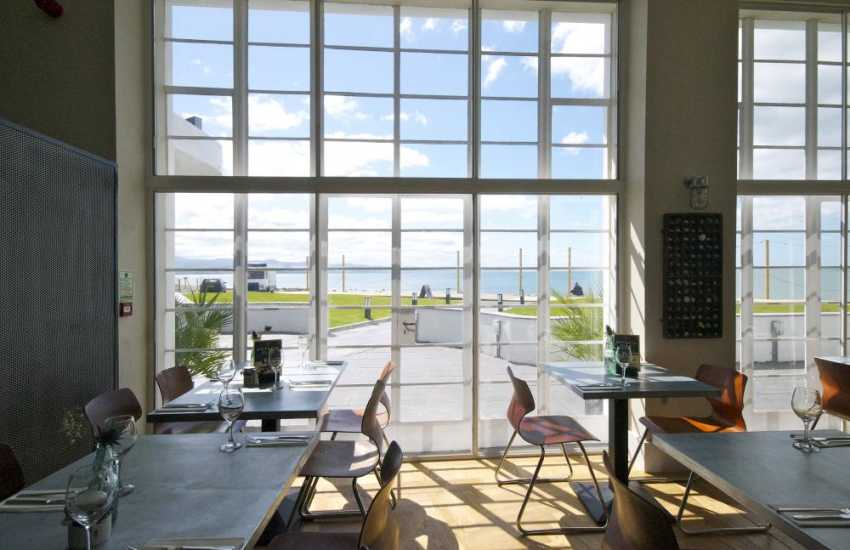 Dylans' restaurant is beside Criccieth beach