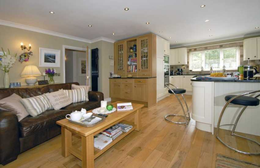 Spacious Haven Waterway holiday home South Pembrokeshire - open plan kitchen/sitting room with log burning stove