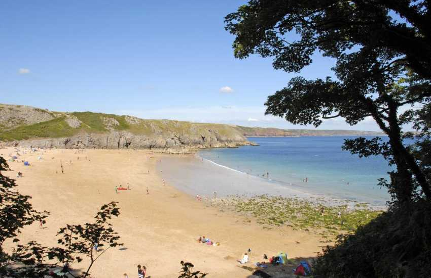 Walk from Stackpole Quay over to exotic Barafundle Bay