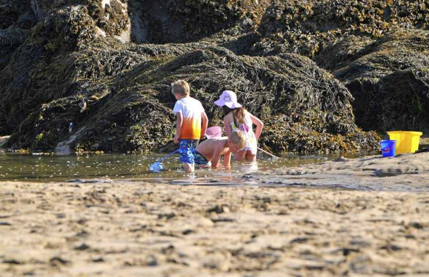 Aberffraw beach with rock pools to explore