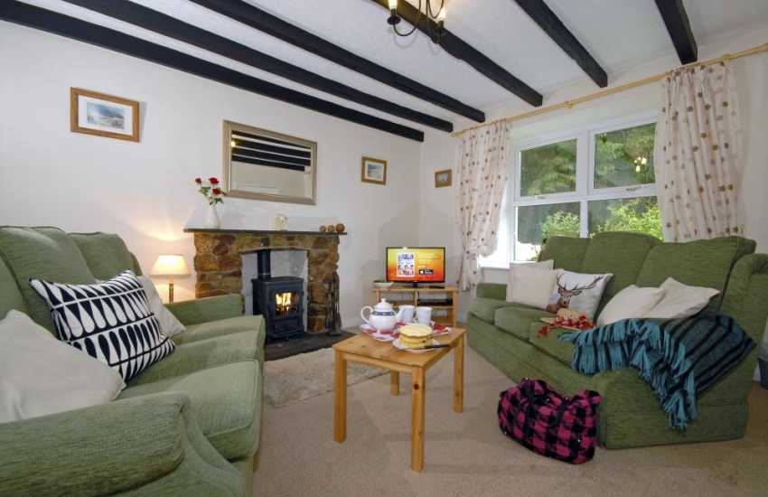 Newgale Pembrokeshire holiday home - comfortable sitting room with log burning stove
