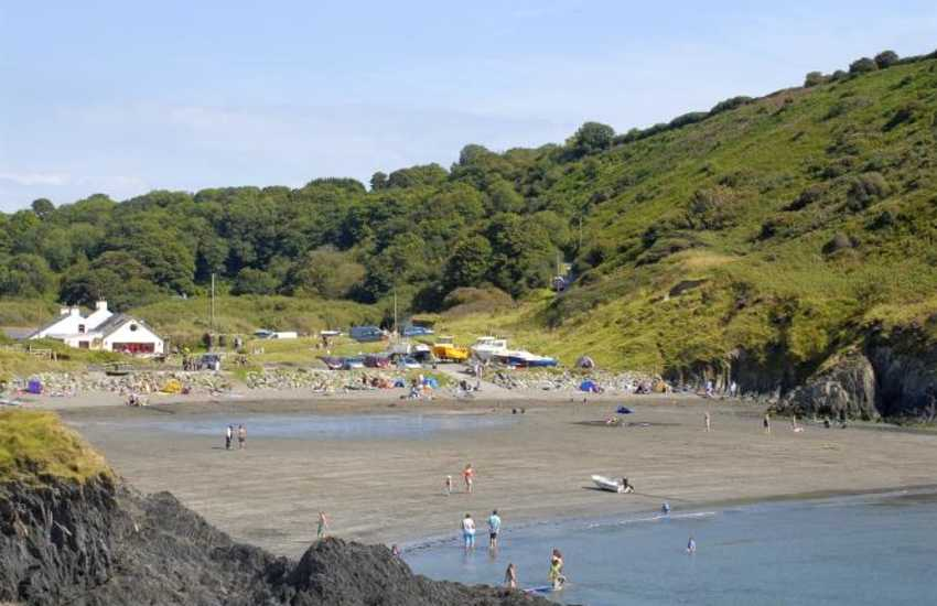 Pwllgwaelod is a pretty sheltered little cove north of Fishguard - enjoy fresh fish at The Old Sailors pub which overlooks the beach