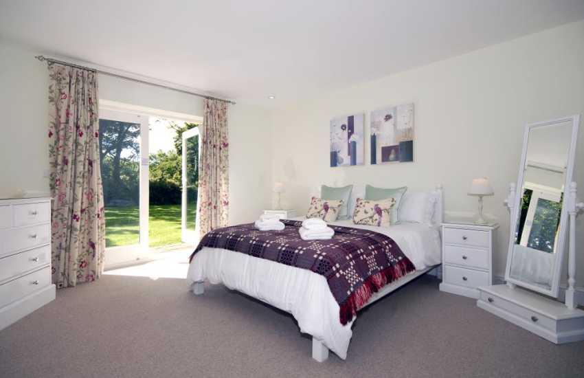 Pembrokeshire barn conversion sleeps 6 - double with patio doors to garden