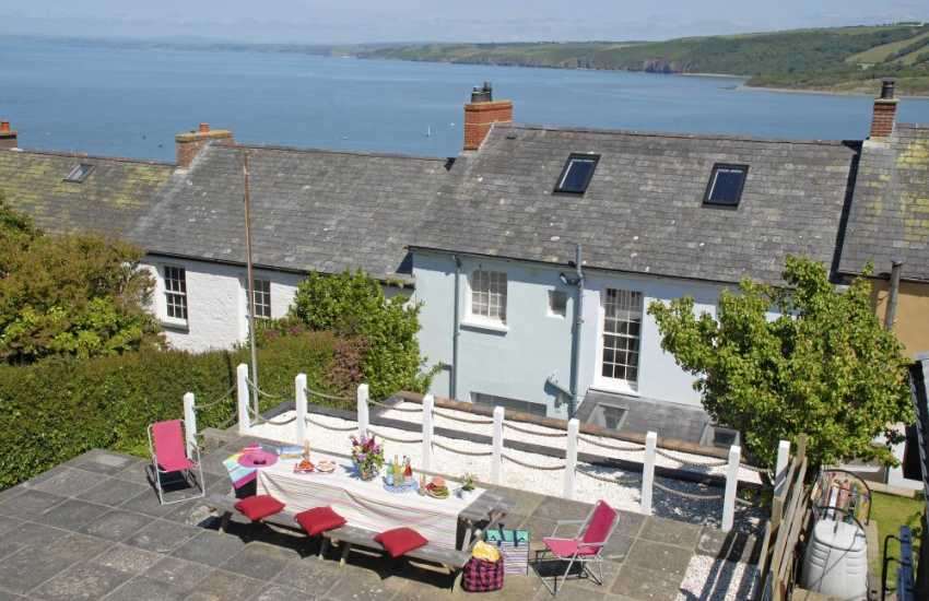 New Quay, Wales - holiday cottage with sea views from the rear terraced garden