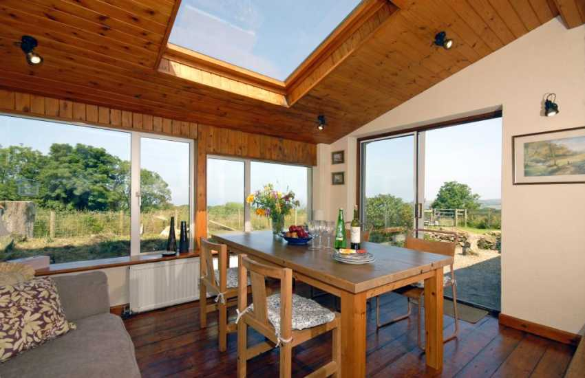 Self-catering cottage Newport Pembrokeshire dining area with sea views