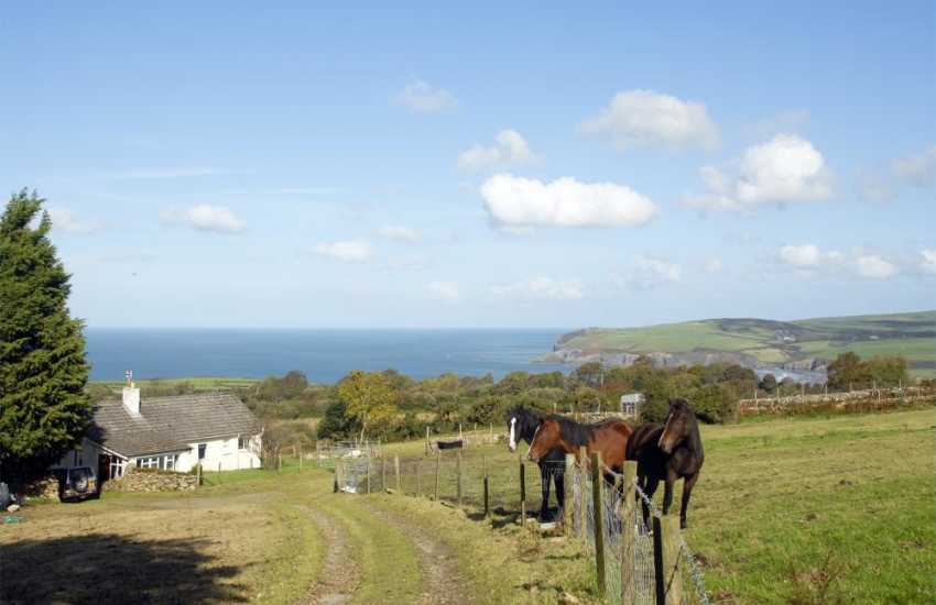 Garn Isaf holiday cottage nestled in rolling countryside with coastal views
