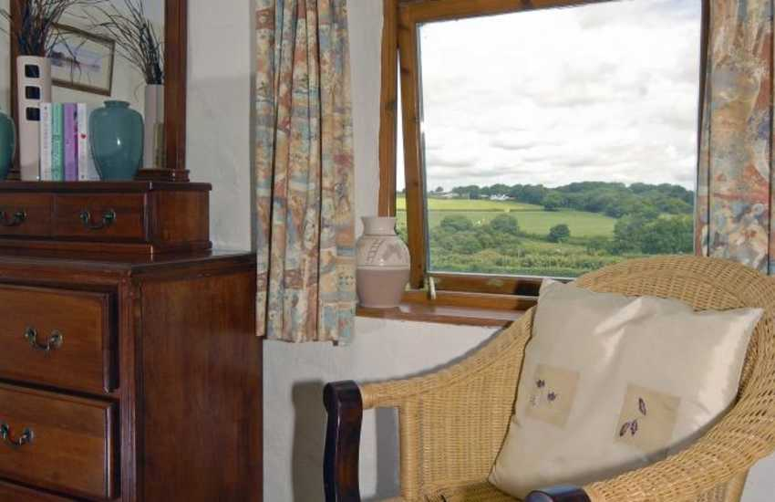 Rural Pembrokeshire holiday cottage - master bedroom with countryside views