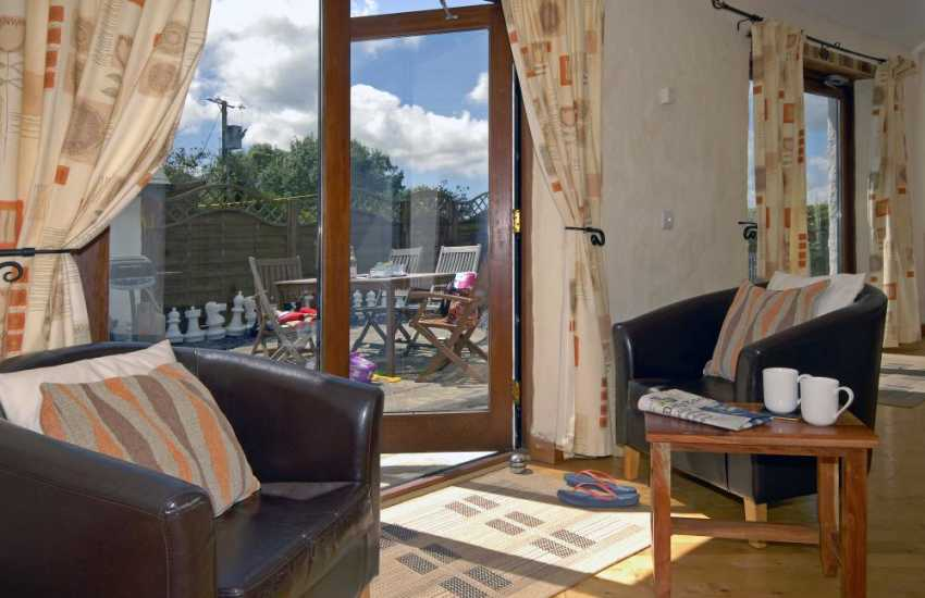 Holiday cottage Pembrokeshire - french doors to sunny sheltered patio