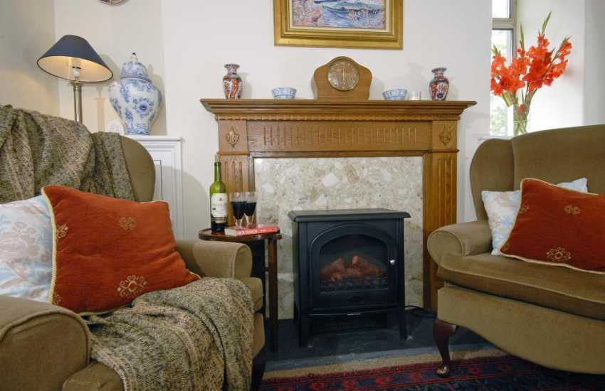 Relax by the fire at Glasfryn, Newport Pembs