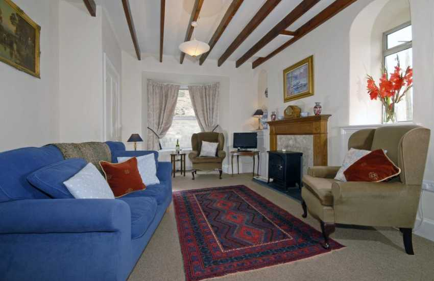 Newport, Pembs holiday cottage - lounge with electiric fire