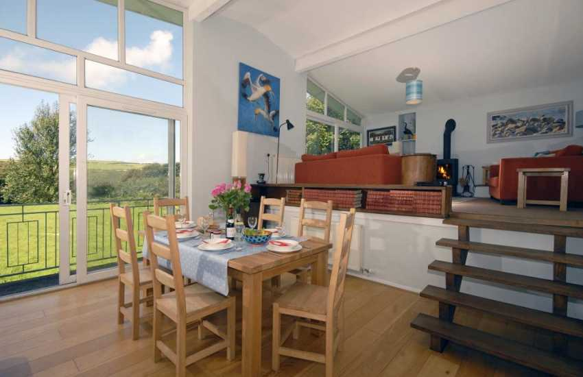 Broad Haven Pembrokeshire holiday home - split level dining living area