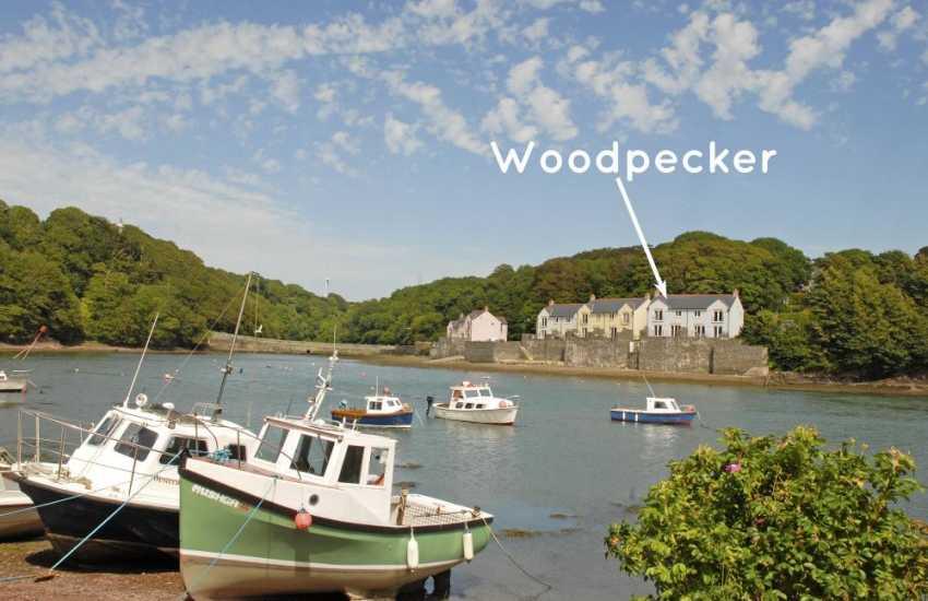 'Woodpecker' from across Castle Pill at low tide