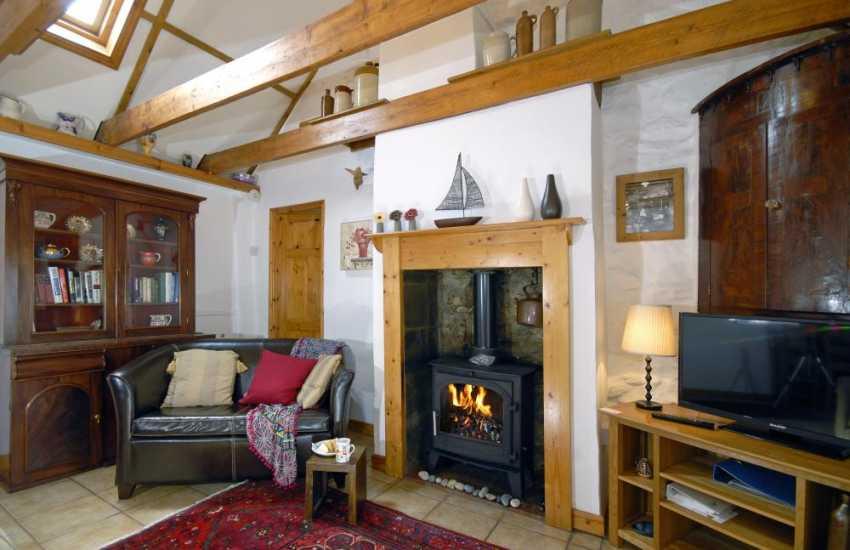 North Pembrokeshire coastal holiday home - lounge with log burning stove
