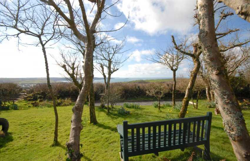 Garden with sea views of St Brides Bay at this Pembrokeshire holiday cottage