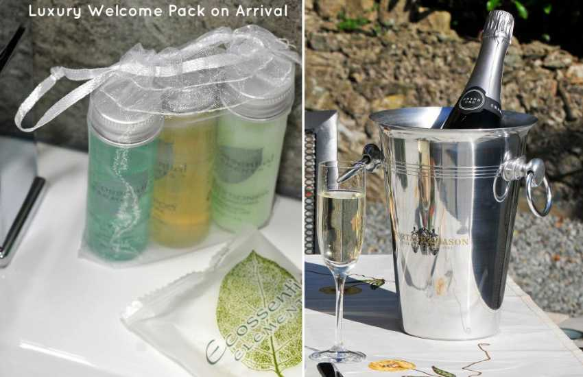 Luxury welcome pack on arrival
