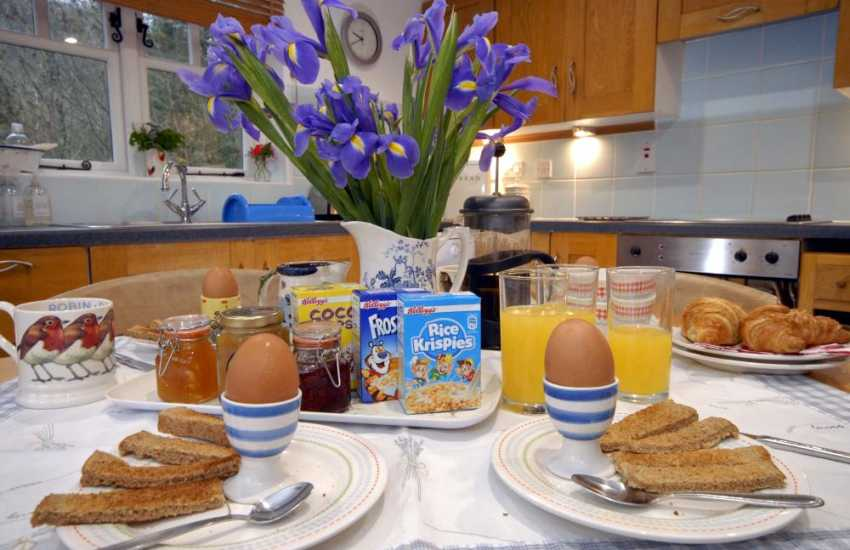 Fresh eggs for breakfast from the hens at