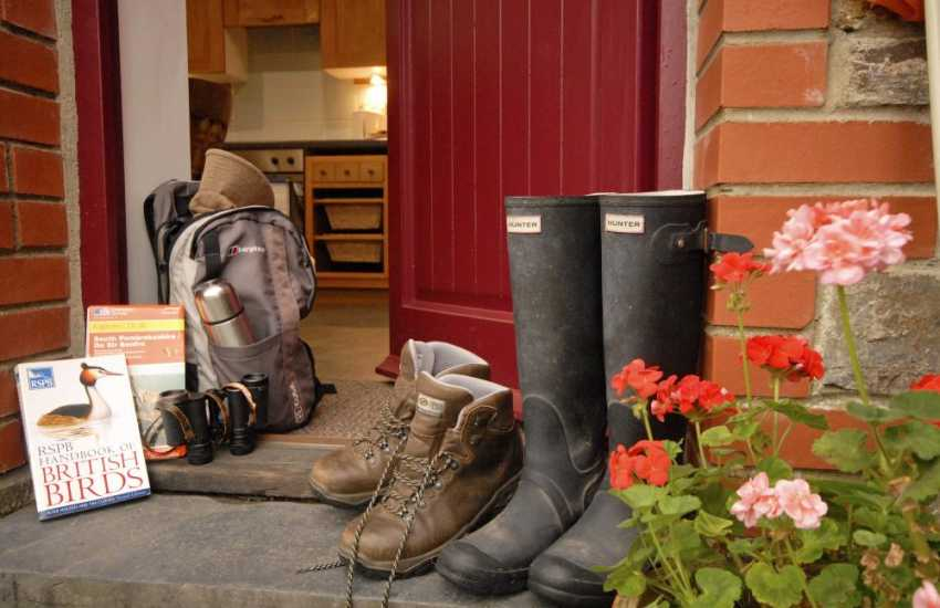 Hunter wellies and walking boots ready for country walks