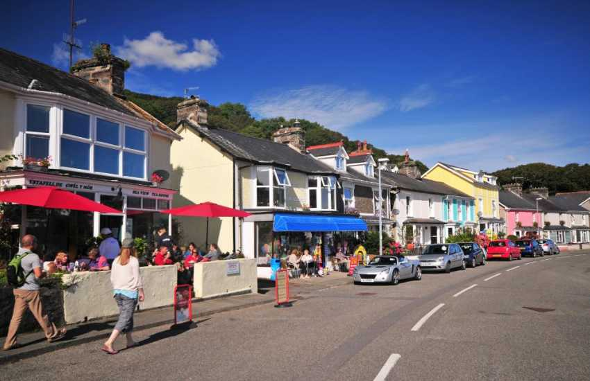 Borth y Gest harbour and shops