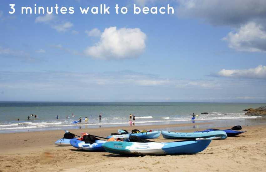 3 minutes walk to Tresalth beach