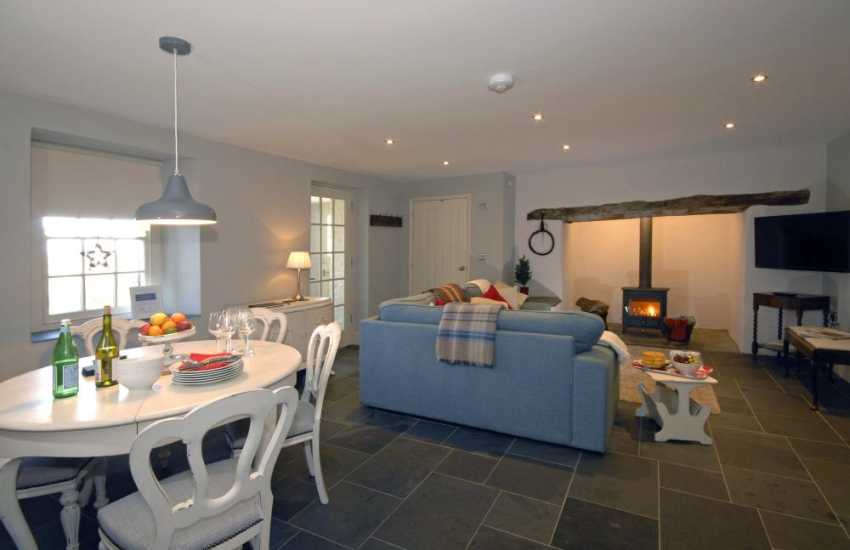 St Davids holiday cottage with open plan living room and log burning stove