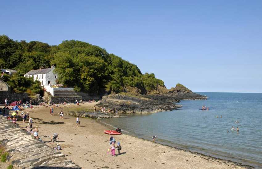 Cwm yr Eglwys - a tiny coastal village with a sheltered sandy beach at low tide