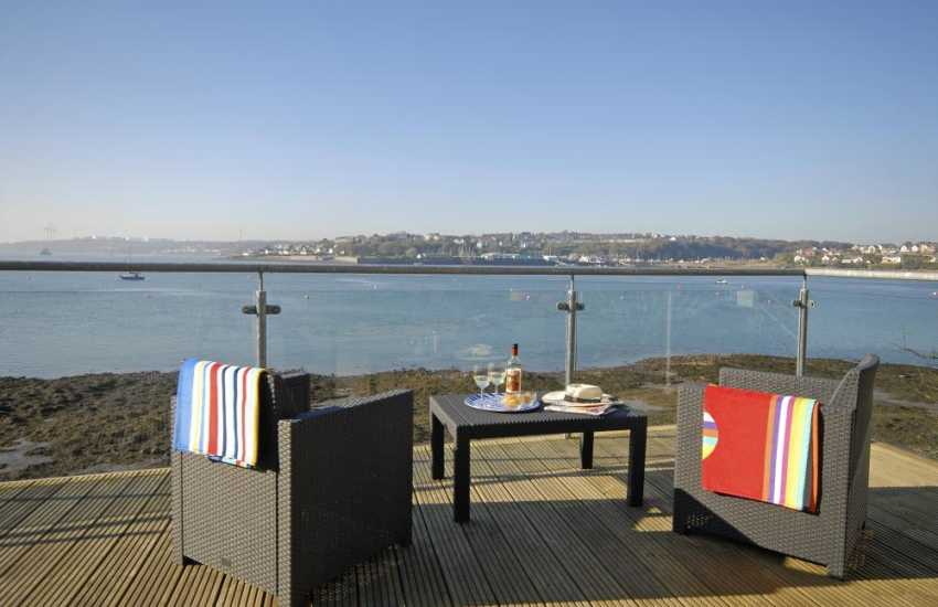 South Pembrokeshire waterside holiday home - deck with stunning river views