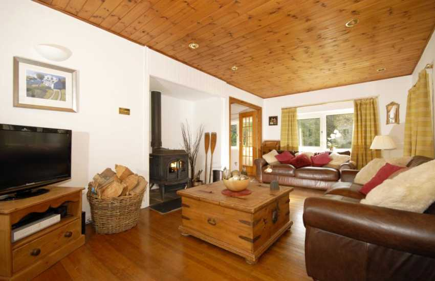 Riverside holiday house in Solva - lounge with wood-burning stove