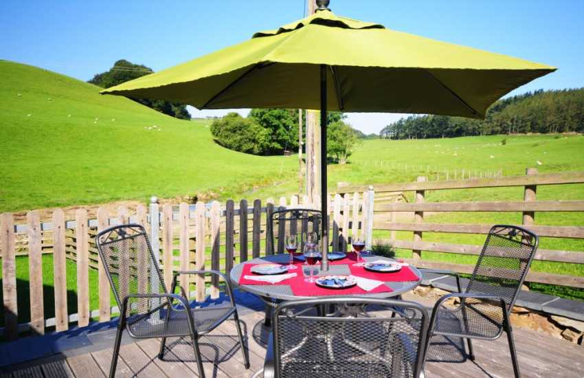 The decking and barbecue area overlooking the stream at the back of the house