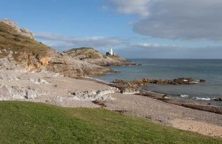 Beautiful Bracelet Bay and Mumbles Lighthouse