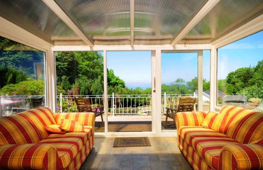 Sun-room with sea views