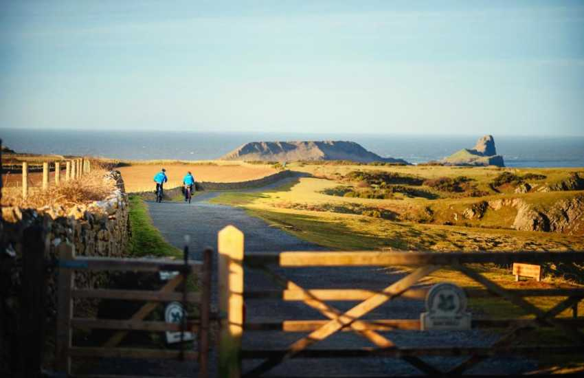 Breathtaking views of Rhossili's golden sands to the rugged limestone rocks of the south Gower coast can be enjoyed on clifftop walks and cycle rides