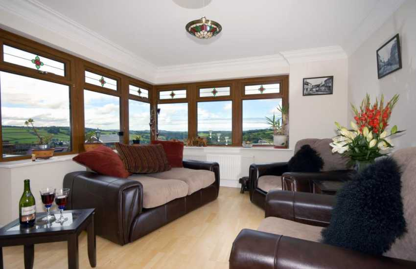 Cenarth holiday home - conservatory with Teifi Valley views