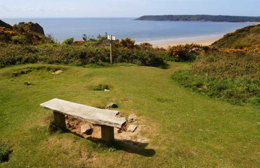 Oxwich Bay a 2.5-mile long sandy beach, popular spot for swimming and watersports