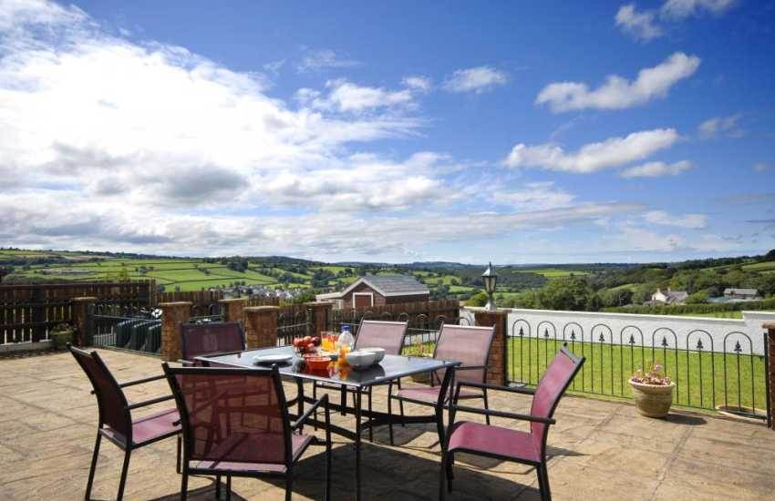 Cardigan Heritage Coast holiday home - patio area with stunning valley views