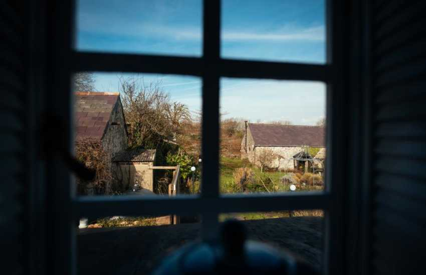 Gower cottage holiday sleeps two - garden views from bedroom