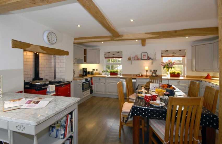 Self catering Saundersfoot seaside family holiday home - modern kitchen with Aga
