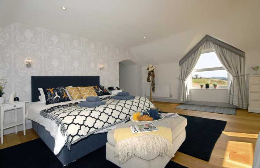 Pembrokeshire coast holiday home - master with super king size bed and coastal views