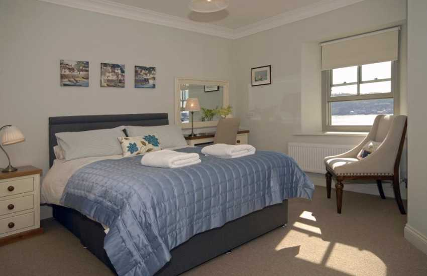 Luxury Pembrokeshire holiday house with river views - master with en-suite and river views
