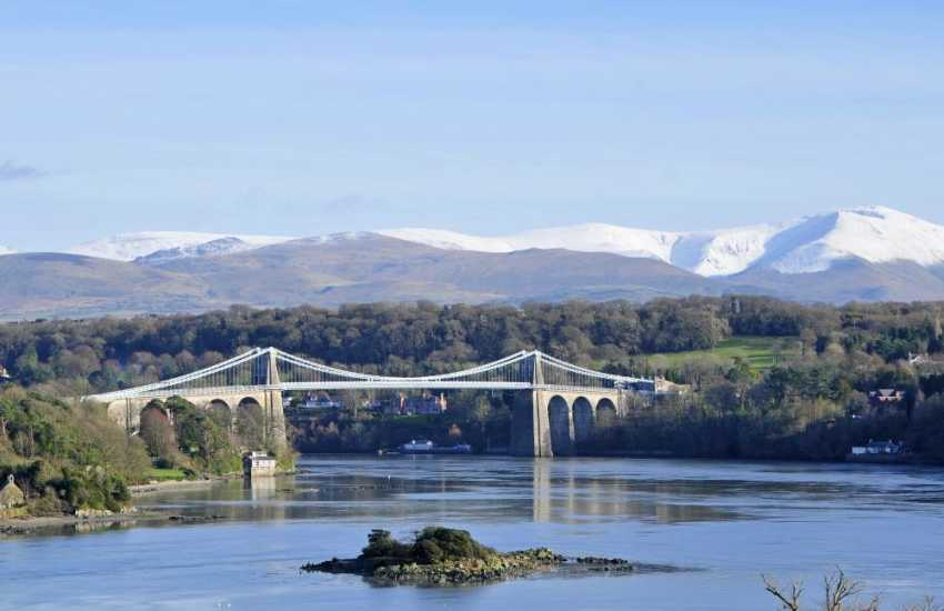 Menai Bridge, gateway to Snowdonia from Anglesey