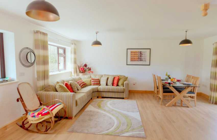 Llas Racecourse short drive from holiday cottage sleeping 4 - lounge/dining area