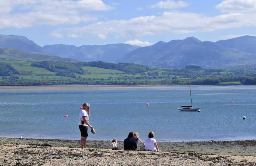 Beaumaris beach with views of Snowdonia